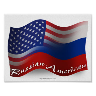 Russian-American Waving Flags Poster