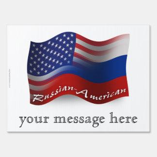 Russian-American Waving Flags Yard Signs