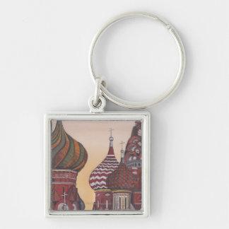 Russian Architecture Silver-Colored Square Keychain