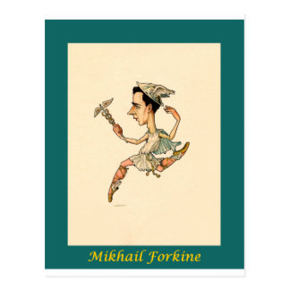 Russian Ballet Caricature ~ Mikhail Fokine Postcard