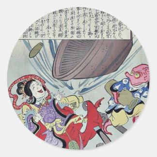 Russian battleship by Utagawa,kunimasa Round Sticker