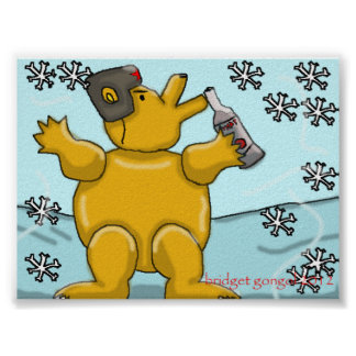 Russian Bear with Vodka Poster