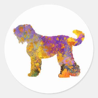 Russian Black Terrier 01 in watercolor 2 Classic Round Sticker