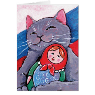 Russian Blue and Babushka Doll | Patriotic Cat Art Greeting Card