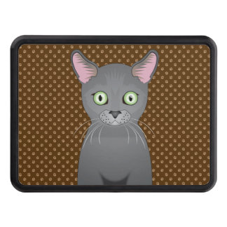 Russian Blue Cat Cartoon Paws Tow Hitch Cover