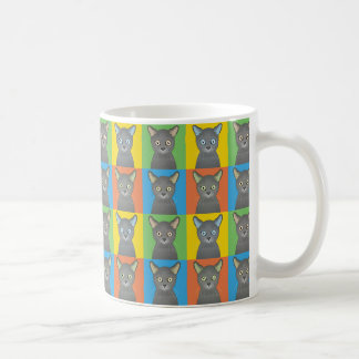 Russian Blue Cat Cartoon Pop-Art Coffee Mugs