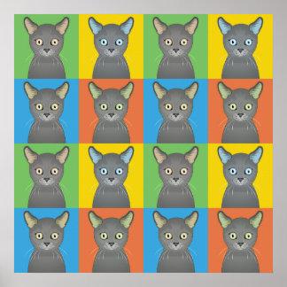 Russian Blue Cat Cartoon Pop-Art Poster