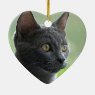 Russian Blue Cat Ceramic Ornament