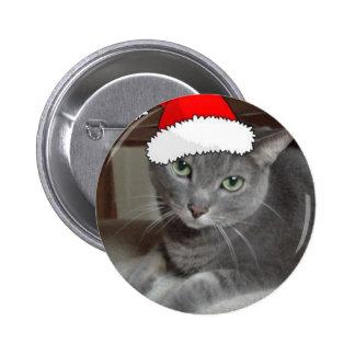 Russian Blue Cat Christmas Button