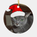 Russian Blue Cat Christmas Double-Sided Ceramic Round Christmas Ornament