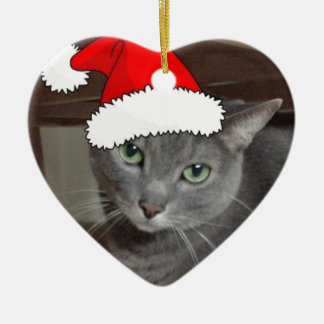 Russian Blue Cat Christmas Double-Sided Heart Ceramic Christmas Ornament