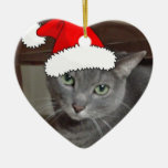Russian Blue Cat Christmas Ornaments