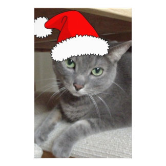 Russian Blue Cat Christmas Stationery