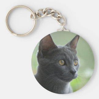Russian Blue Cat Basic Round Button Keychain
