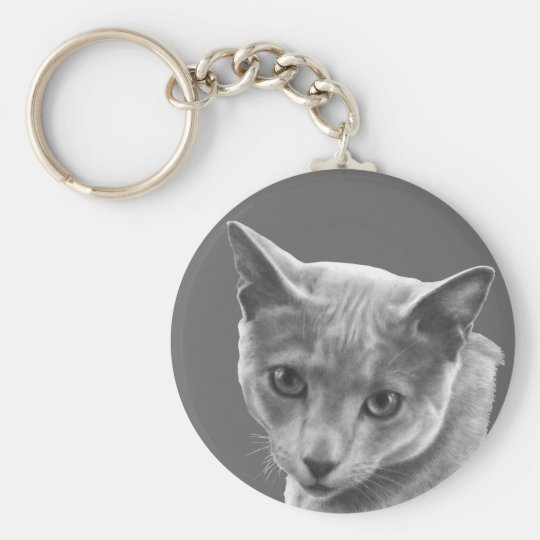 Russian Blue Cat Keychain