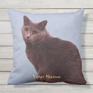 Russian Blue Cat Looking Throw Pillow