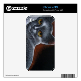 RUSSIAN BLUE CAT SKIN IPHONE 4 CASE DECALS FOR THE iPhone 4
