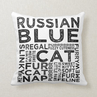 Russian Blue Cat Typography Throw Pillow