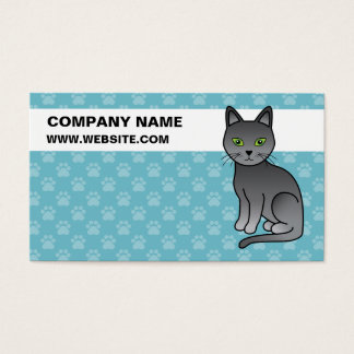 Russian Blue Cat With Custom Business Information Business Card