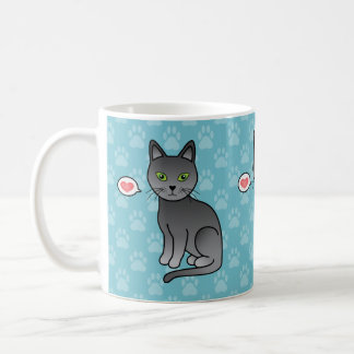 Russian Blue Cats With Hearts On Blue Background Coffee Mug