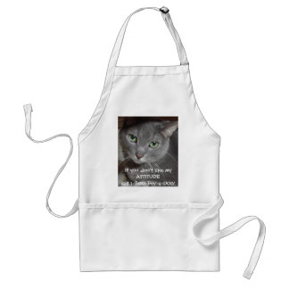 Russian Blue Gray Cat Attitude Humor Adult Apron