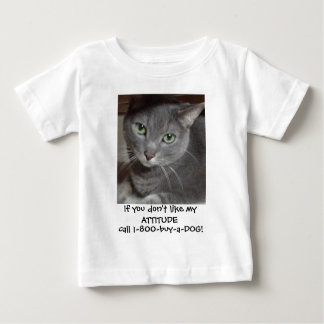 Russian Blue Gray Cat Attitude Humor Baby T-Shirt