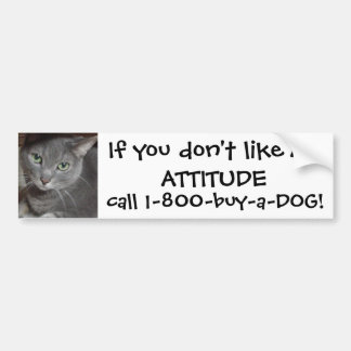 Russian Blue Gray Cat Attitude Humor Bumper Sticker