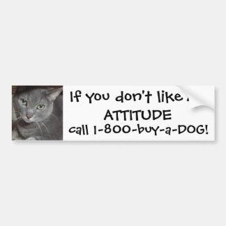Russian Blue Gray Cat Attitude Humor Bumper Sticker