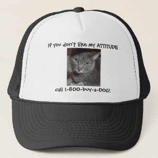Russian Blue Gray Cat Attitude Humor Trucker Hat