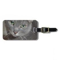 Russian Blue Gray Cat Bag Tag