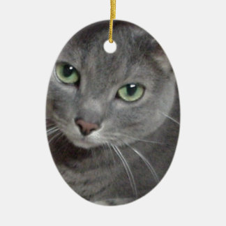 Russian Blue Gray Cat Double-Sided Oval Ceramic Christmas Ornament