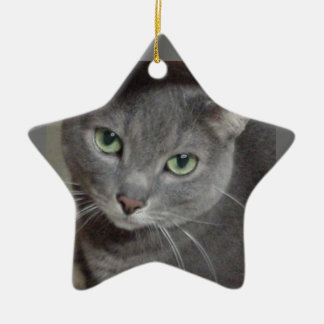 Russian Blue Gray Cat Double-Sided Star Ceramic Christmas Ornament