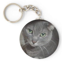 Russian Blue Gray Cat Keychain