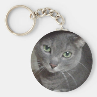 Russian Blue Gray Cat Basic Round Button Keychain