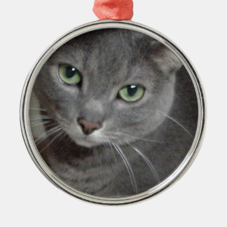 Russian Blue Gray Cat Round Metal Christmas Ornament