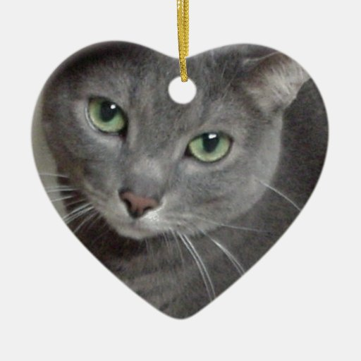 Russian Blue Gray Cat Double-Sided Heart Ceramic Christmas Ornament