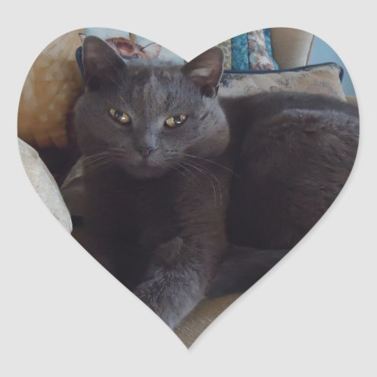 Russian Blue Heart Sticker