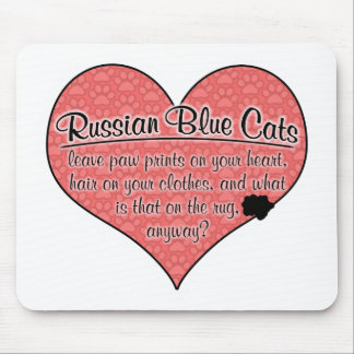 Russian Blue Paw Prints Cat Humor Mouse Pad