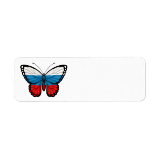 Russian Butterfly Flag Label