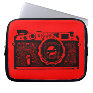 Russian Camera - Black on Red Laptop Sleeves