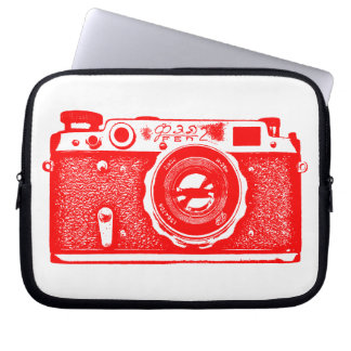 Russian Camera - Red on White Laptop Computer Sleeves
