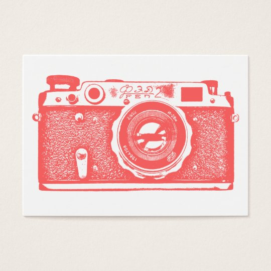 Russian Camera - Tropical Pink on White Business Card