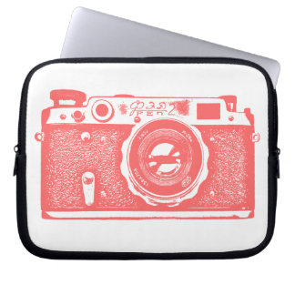 Russian Camera - Tropical Pink on White Laptop Computer Sleeve