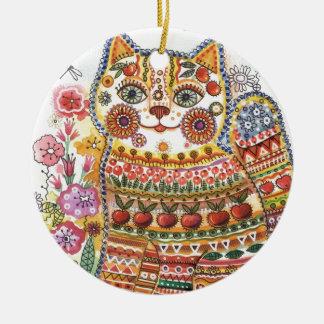 Russian cat ceramic ornament