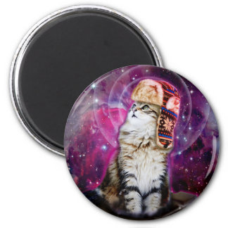 russian cat in space 2 inch round magnet
