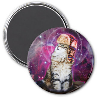 russian cat in space 3 inch round magnet