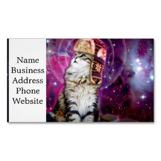 russian cat in space business card magnet