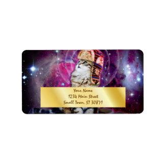 russian cat in space label