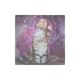 russian cat in space stone magnet