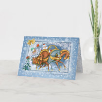 Russian Christmas - Troika,Santa,snowman,rabbits Holiday Card